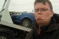 Car getting towed on Isle of Lewis